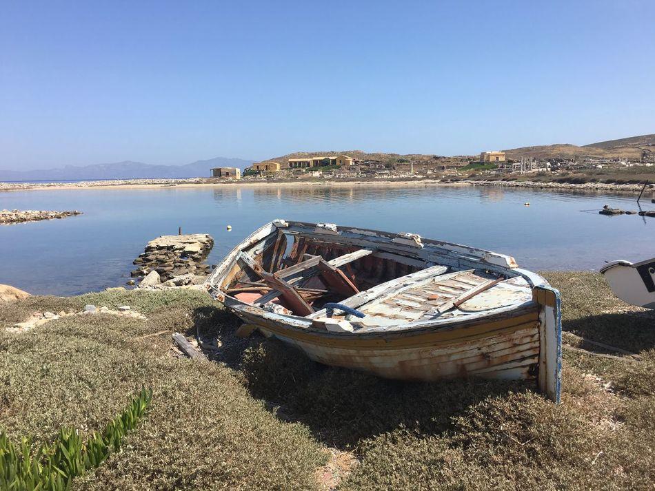 Old Canoe Canoe Boat Mykonos Greece
