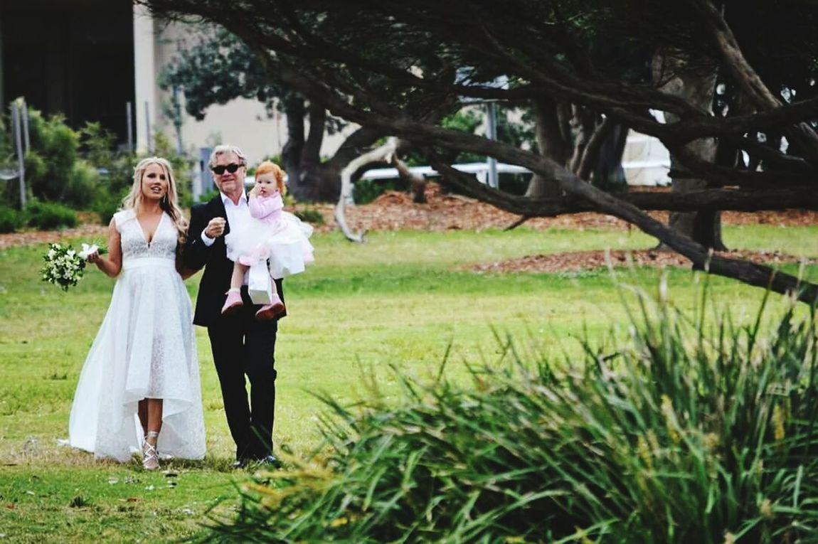 Wedding day Child Togetherness Outdoors Wedding Photography Wedding Day Weddings Father Of The Bride Happiness Cheerful Tree Smiling