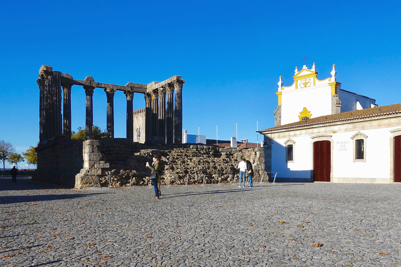 The ruins of the Roman Diana temple at Evora in Portugal. Architecture Building Day Diana History Outdoors People Portugal Roman Sky Square Temple Travel Destinations Évora