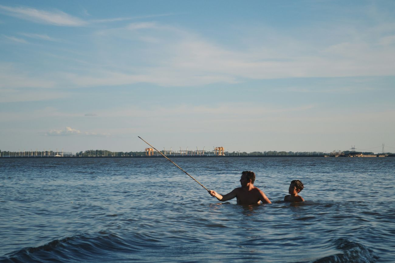 Relaxing Sunshine Enjoying The Sun Family Father & Son Fishing Lake Argentina Argentina Photography Love First Eyeem Photo