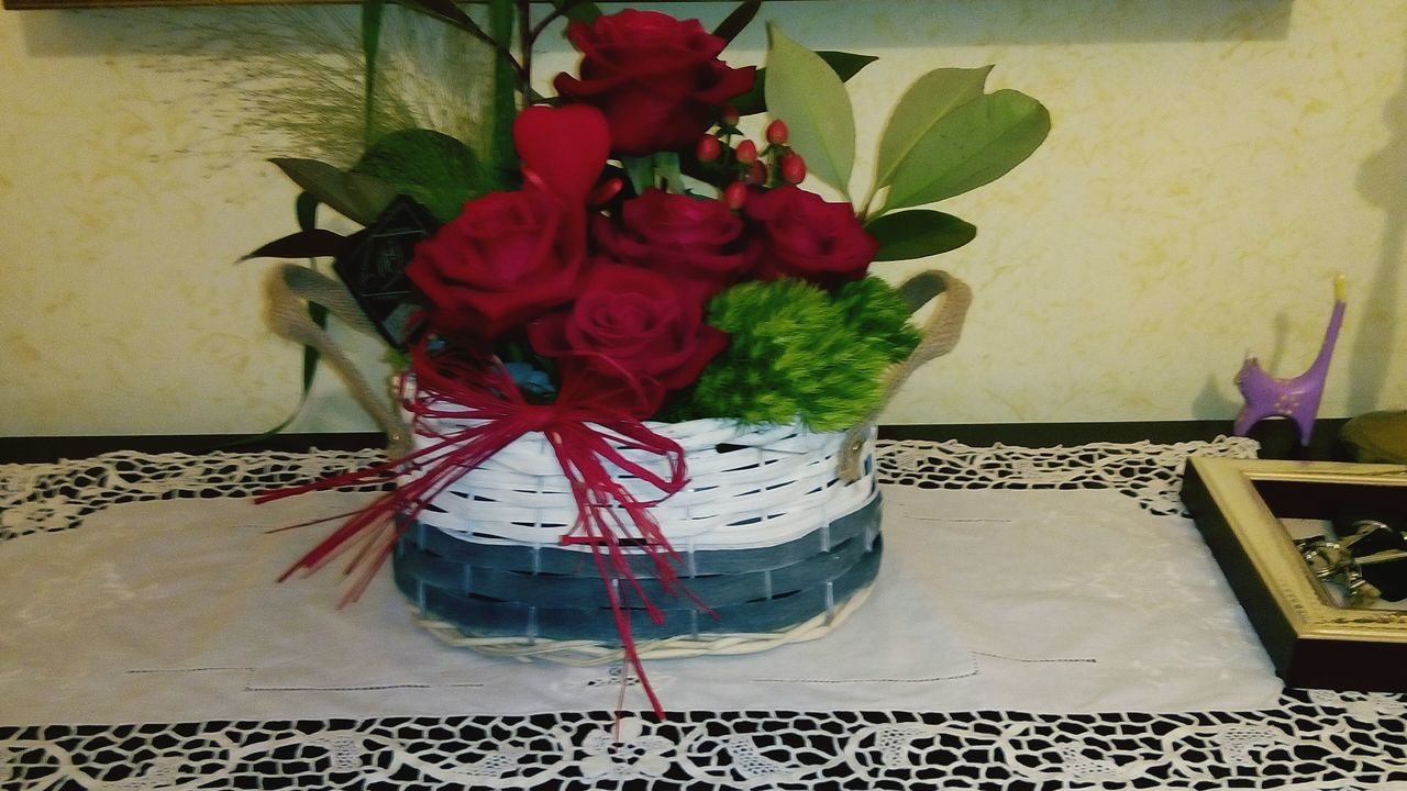 ribbon - sewing item, indoors, celebration, table, red, no people, gift, christmas, home interior, flower, close-up, day
