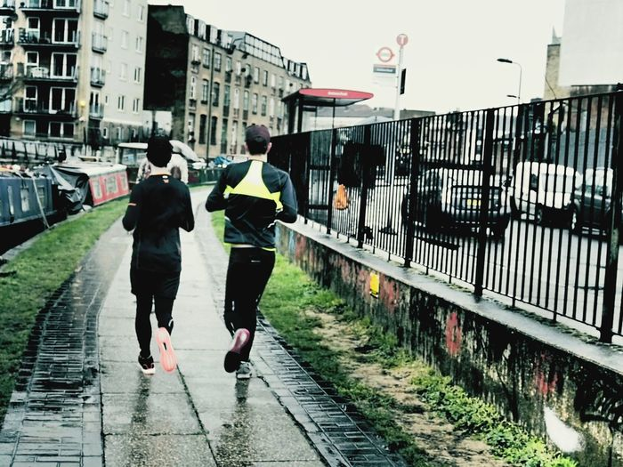Runners Joggers Wet Street London East End Street Photography Hackney London Lifestyle Rainy Day Canal Boats Canal Hacney Wick Canal LONDON❤ Canalsides East London, UK Exercise Is Health Exercisetime Running Jogging Path