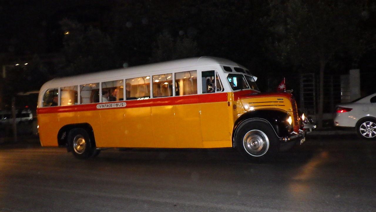Illuminated Night No People Old Transort Outdoors Tourism Transportation Vintage Bus