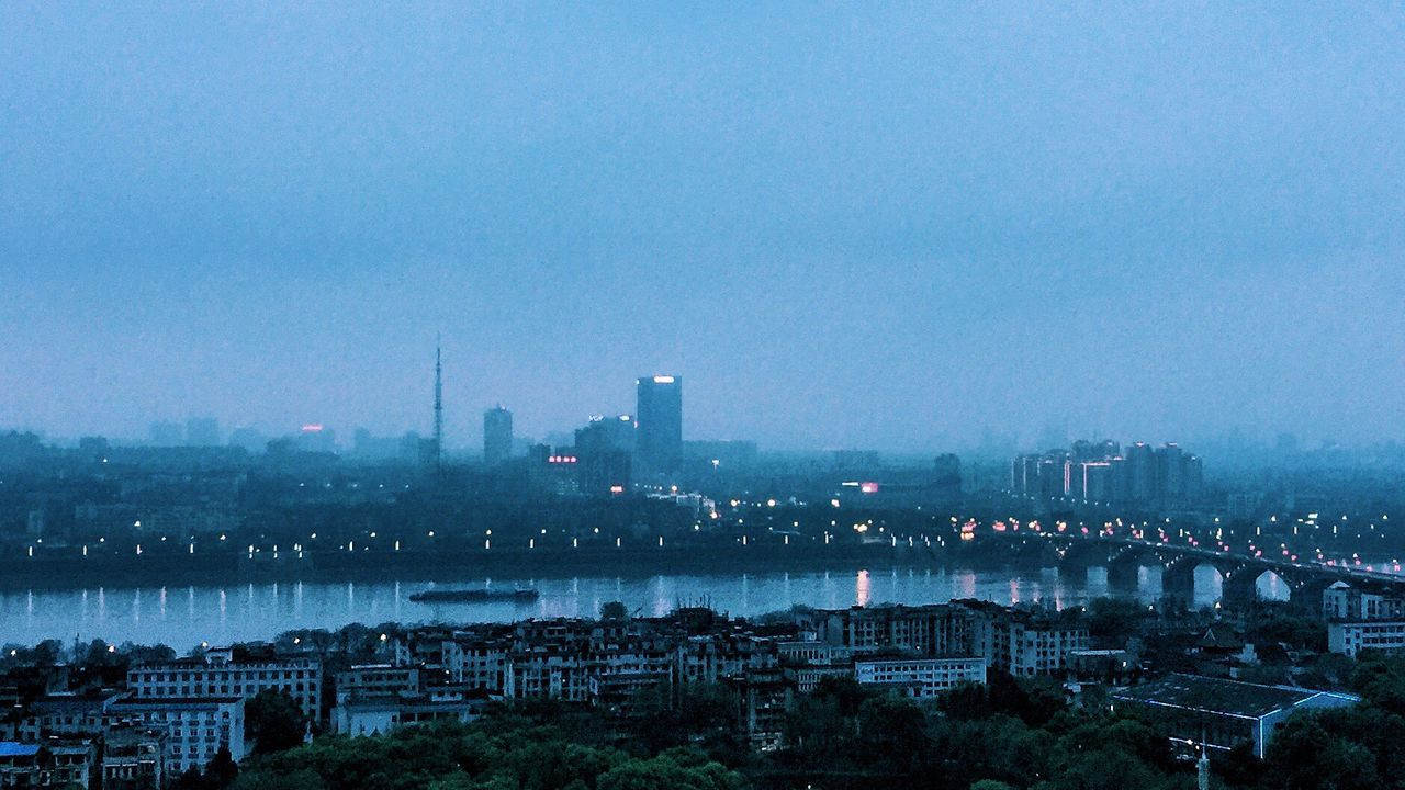 Xiang river in the twilight Cityscape Xiangjiang River Urban Skyline Dusk Twilight Sky Downtown District Nature Lights On Reflection Foggy