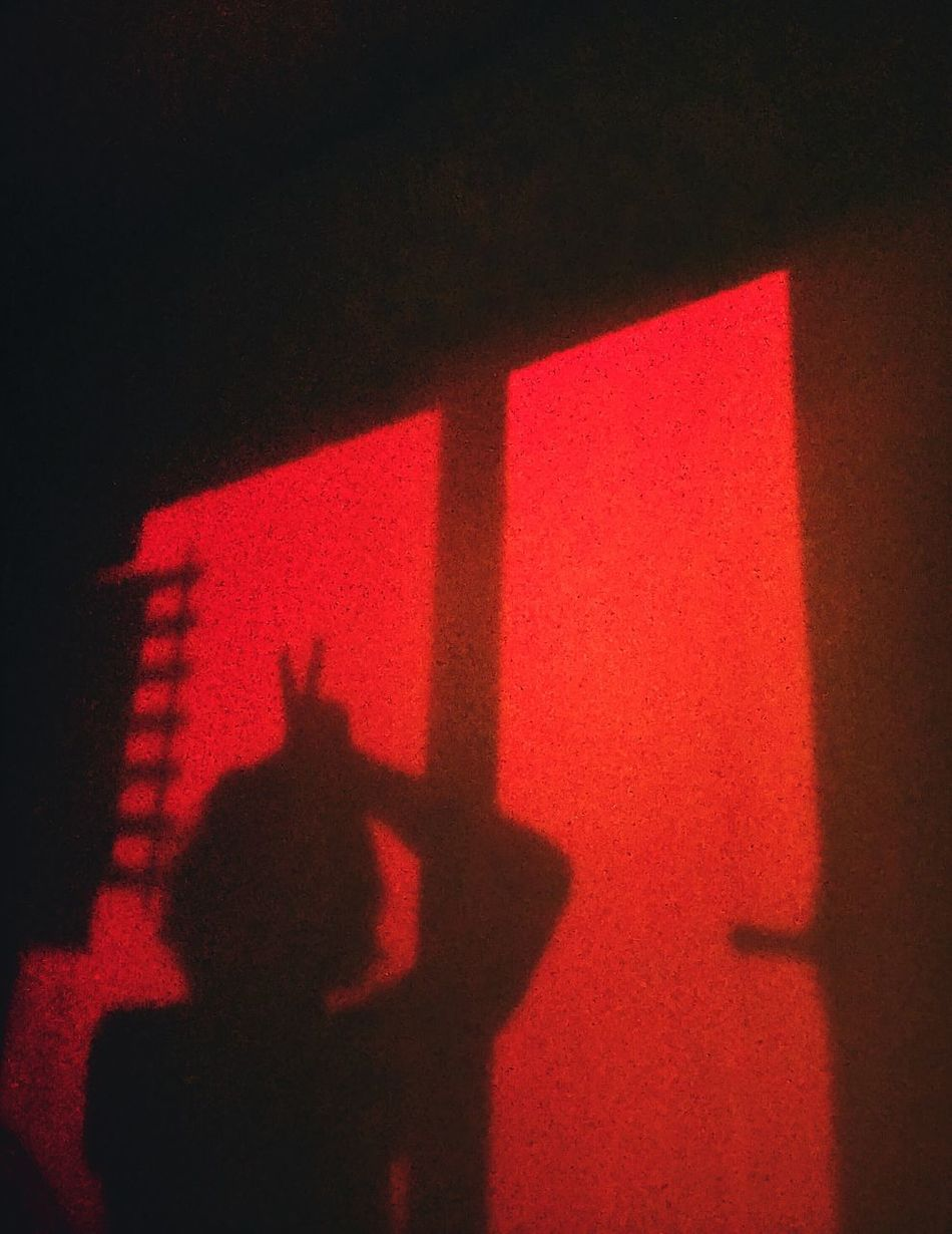 Horns up Red Shadow Indoors  Window Sunset Occult Silhouette EyeEmNewHere Resist Red Sky