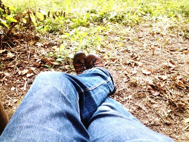 Denim Footwear Relaxation Personal Perspective Jeans