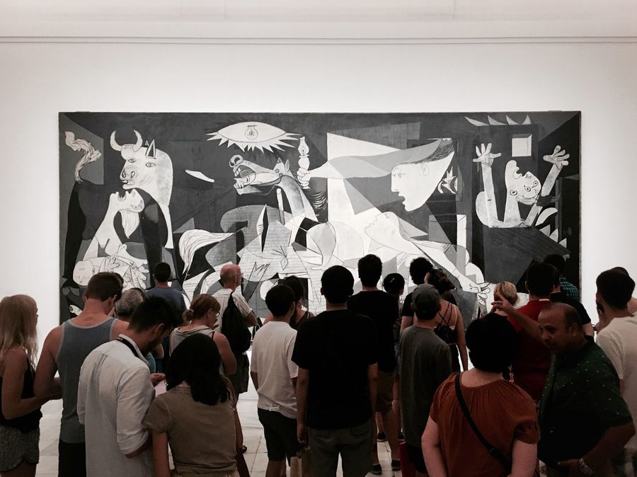 Picasso Guernica Art Gallery Museum People Looking At Art People Watching Art Crowd Crowds Pretty Madrid