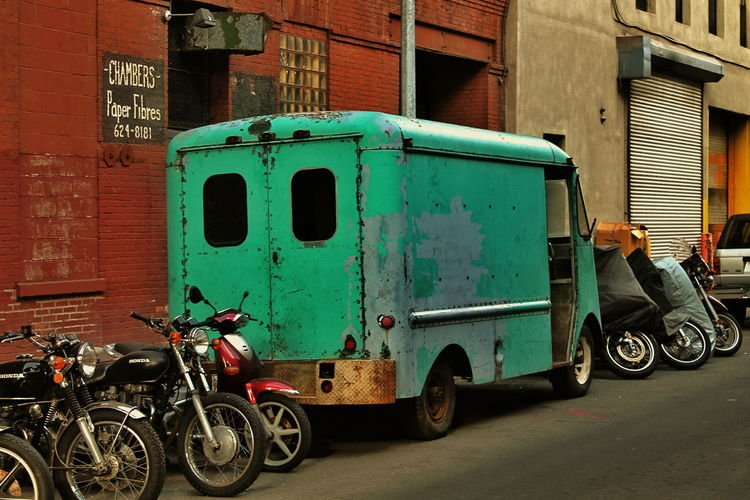 Abandoned Bad Condition Building Exterior Communication Damaged Day Door Guidance Land Vehicle Obsolete Old Old-fashioned Outdoors Red Ruined Street Text Transportation Wall Western Script Vehicle Streetphotography Mopeds Bikes Brooklyn