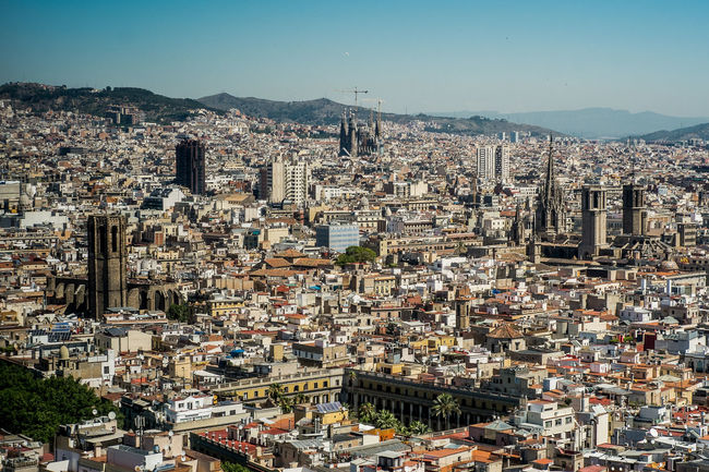 Views over Barcelona Architecture Blue Building Exterior Built Structure City City Life Cityscape Community Day Development Elevated View Horizon Over Land Human Settlement Mountain Nature No People Outdoors Sky Town TOWNSCAPE
