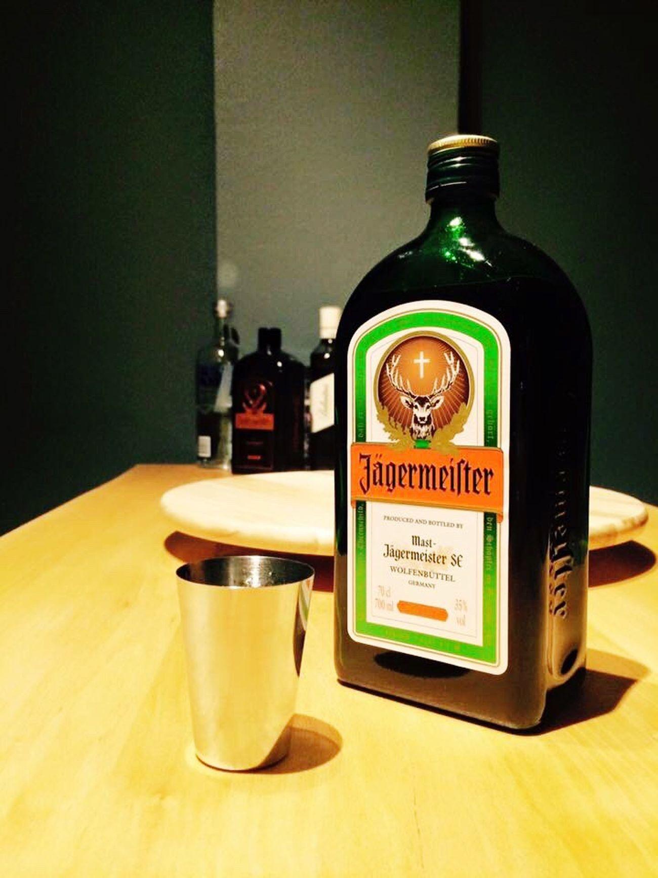 Jägermeister Woodtable Wood Bottle Indoors  Myhome Alcohol Food And Drink