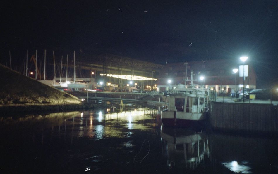 """The project of """"Lightforms"""" for Klaipeda Lights Festival 2016 called """"Elingas"""". I made a sound for it. Built Structure Elin Illuminated Klaipeda Light Lights Lomo Lomography Night Outdoors Reflection River Water"""