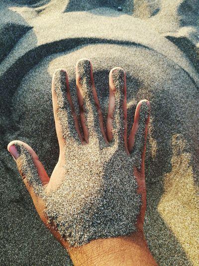 Hand Day Beach Sand And Sea Sunday