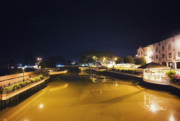 Been There. Yellow River Night Photography Hidden Beauty Town Tourism Water Landscape Scenery Of The Town Vacations Travel Cityscape Clear Sky Borneo Island