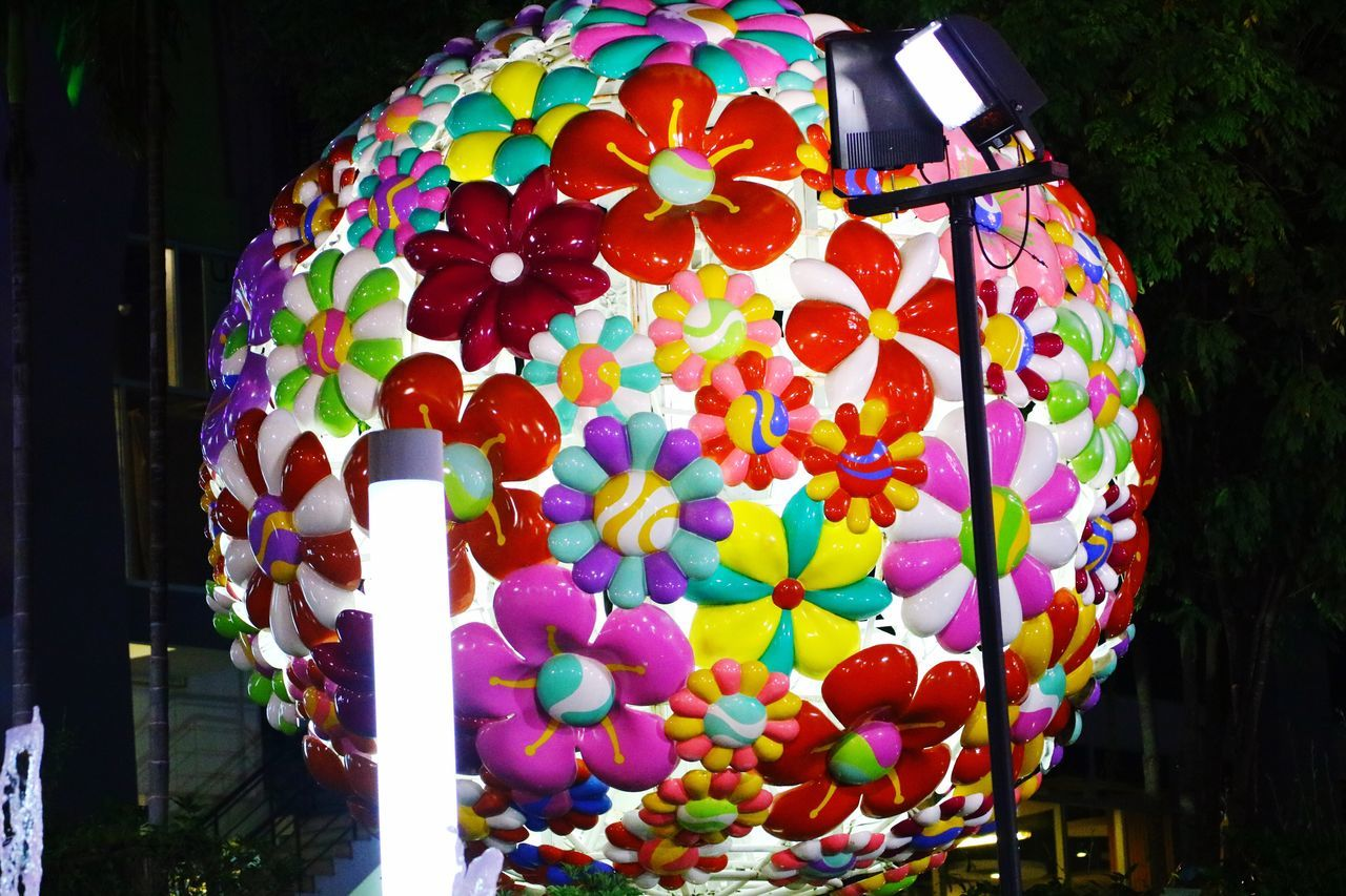 Outdoors Multi Colored Balloon Celebration Celebration Balloons Ball Flower Balloon Flower Ball Night