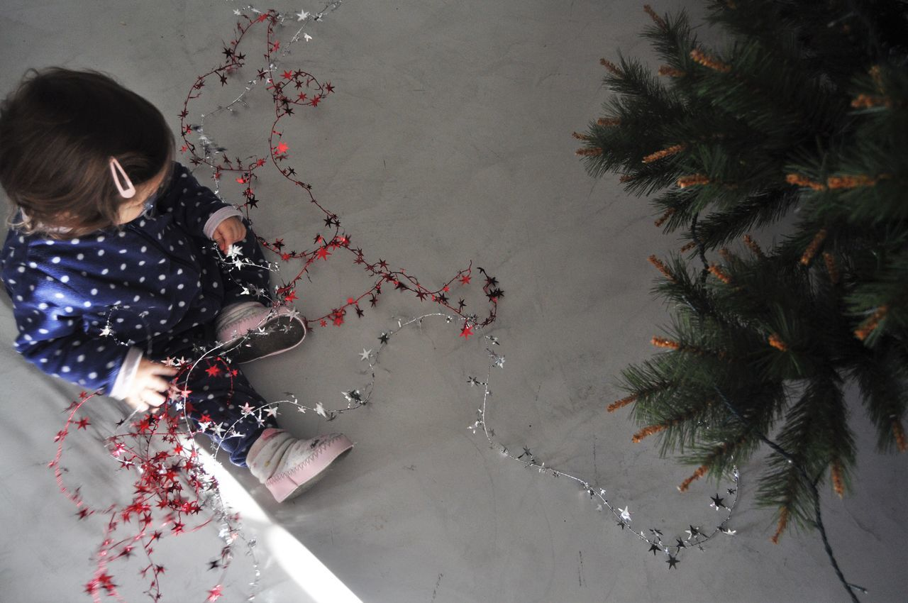Baby Baby Girl Childhood Christmas Christmas Decoration Christmas Decorations Christmas Tree Decorations Enjoyment Floor Full Frame Fun Happiness Heart Shape Helping High Angle View Innocence Love Natural Pattern On The Floor Pattern Playing Removing Christmas Decorations Sitting Unrecognizable Person