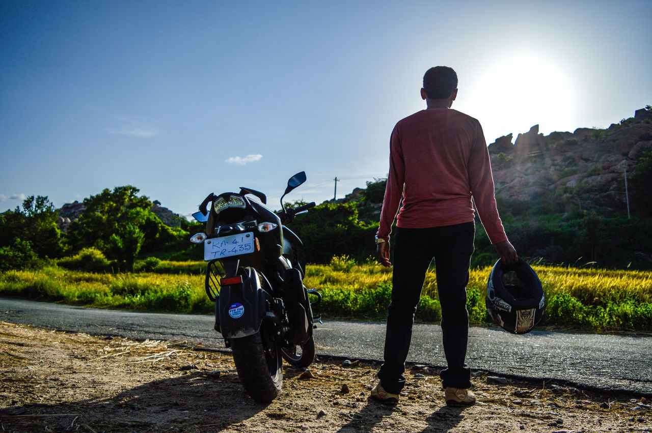 Rear View Motorcycle Standing One Man Only Sky Outdoors Full Length Day Casual Clothing BikeandMe