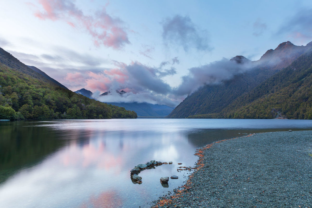 Lake Gunn at sunrise with reflections, Fiordland, South Island, New Zealand Lake Guinness Beauty In Nature Cloud - Sky Day Gunn Lake Mountain Mountains Nature New Zealand No People Outdoors Scenics Sky Tranquil Scene Tranquility Tree Water