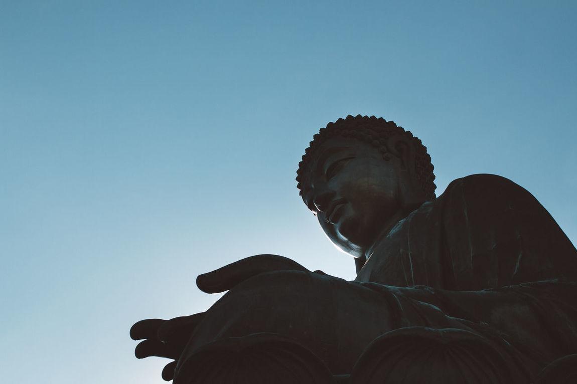 Big Buddha statue in Ngong Ping, Lantau Island, Hong Kong Big Buddha Clear Sky Hong Kong Lantau Island Low Angle View Ngong Ping Outdoors Statue Tian Tan Buddha
