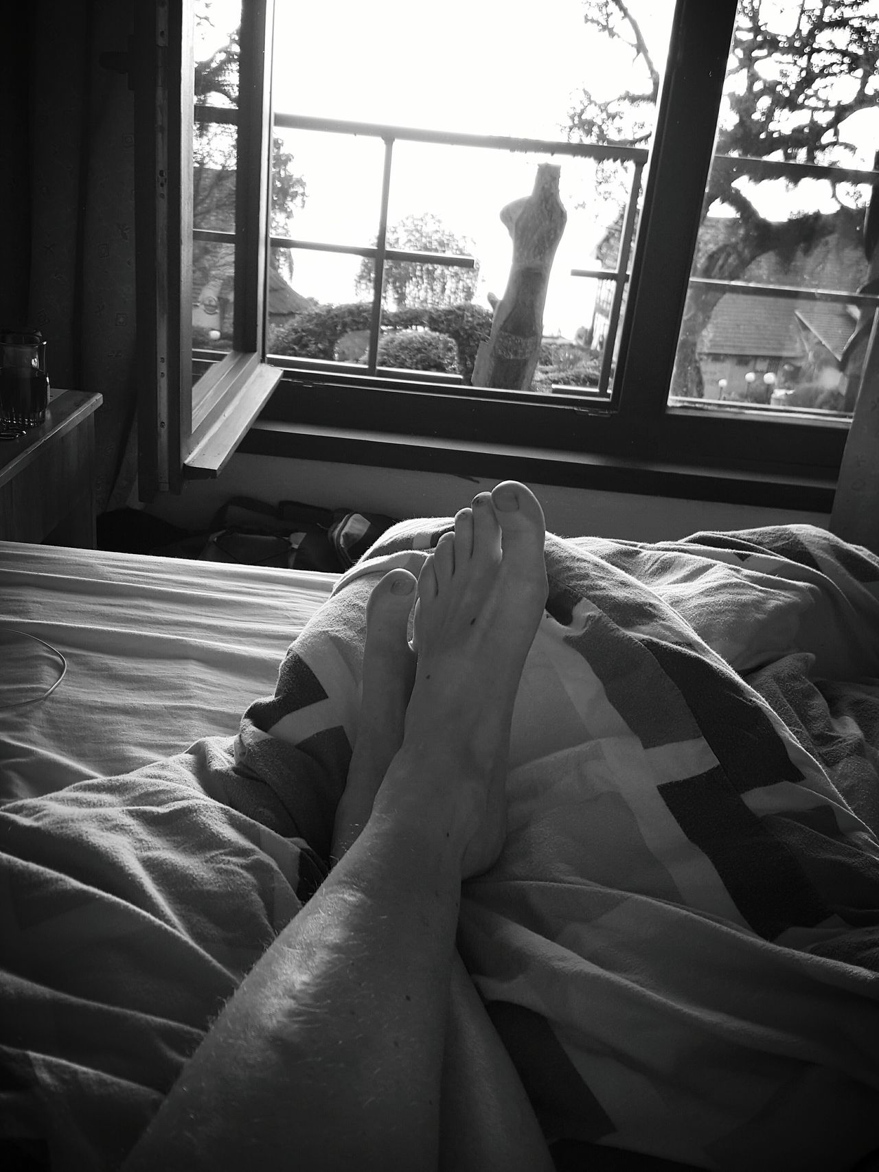 Human Foot Barefoot Relaxation Human Body Part Human Leg One Person Women One Woman Only Leisure Activity Personal Perspective Lying On My Bed Morning View Black And White Black And White Photography