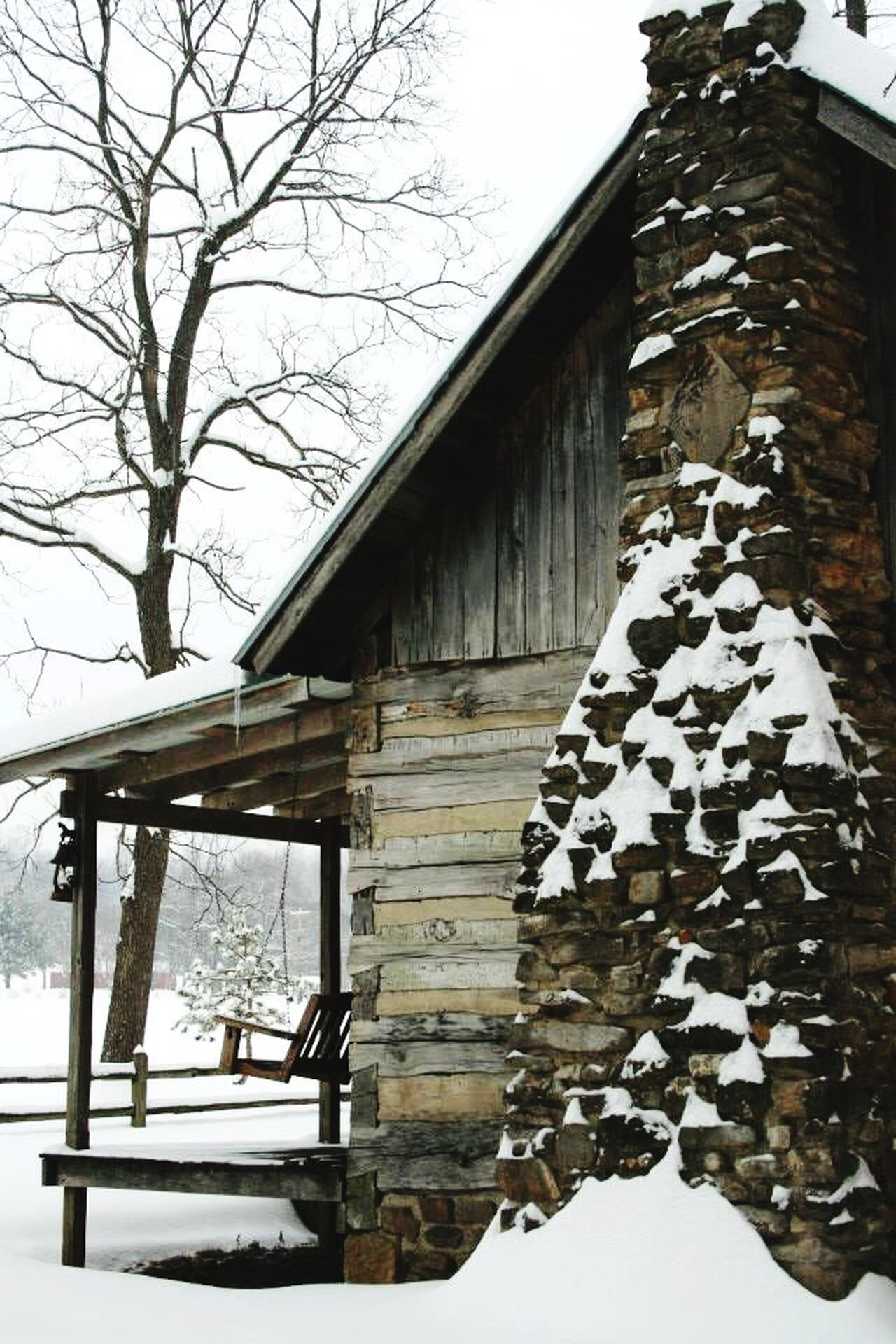 Winter cabin Snow Winter Frozen Cabin Porchswing Chimney