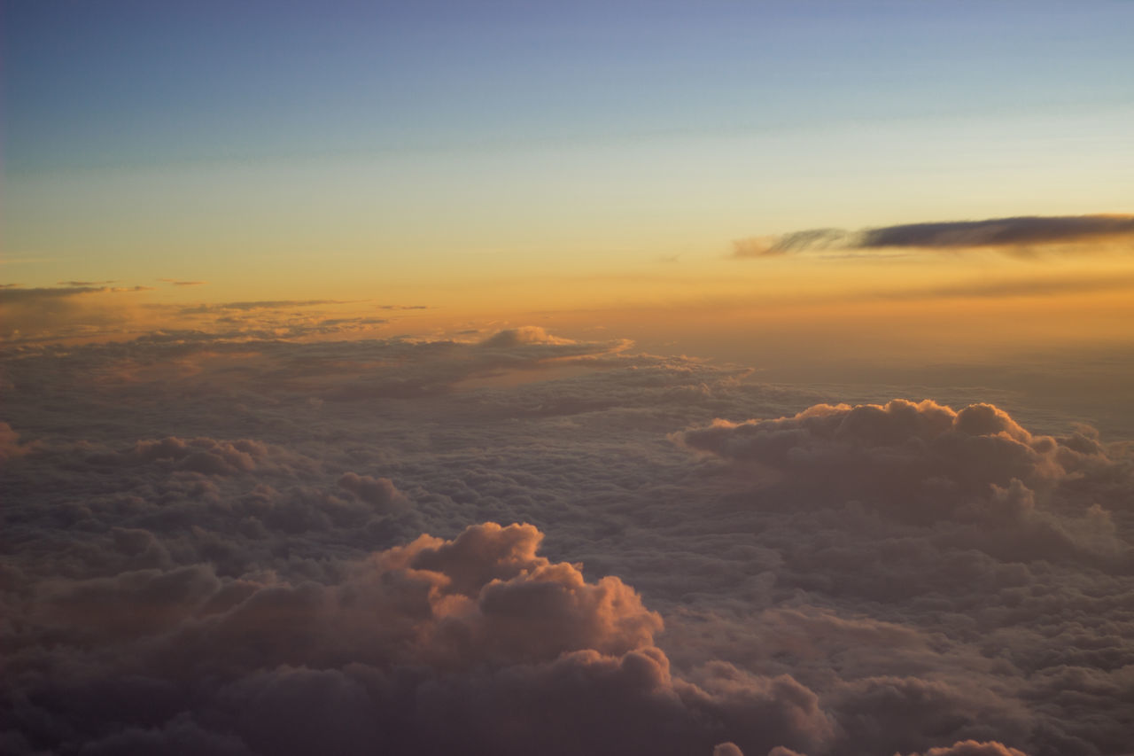Aerial View Air Airplane Beauty In Nature Blue Cloud - Sky Cloudscape Dramatic Sky Heaven High Angle View Nature Orange Scenics Sky Sun Sunrise Tranquil Scene Tranquility Travel Trip