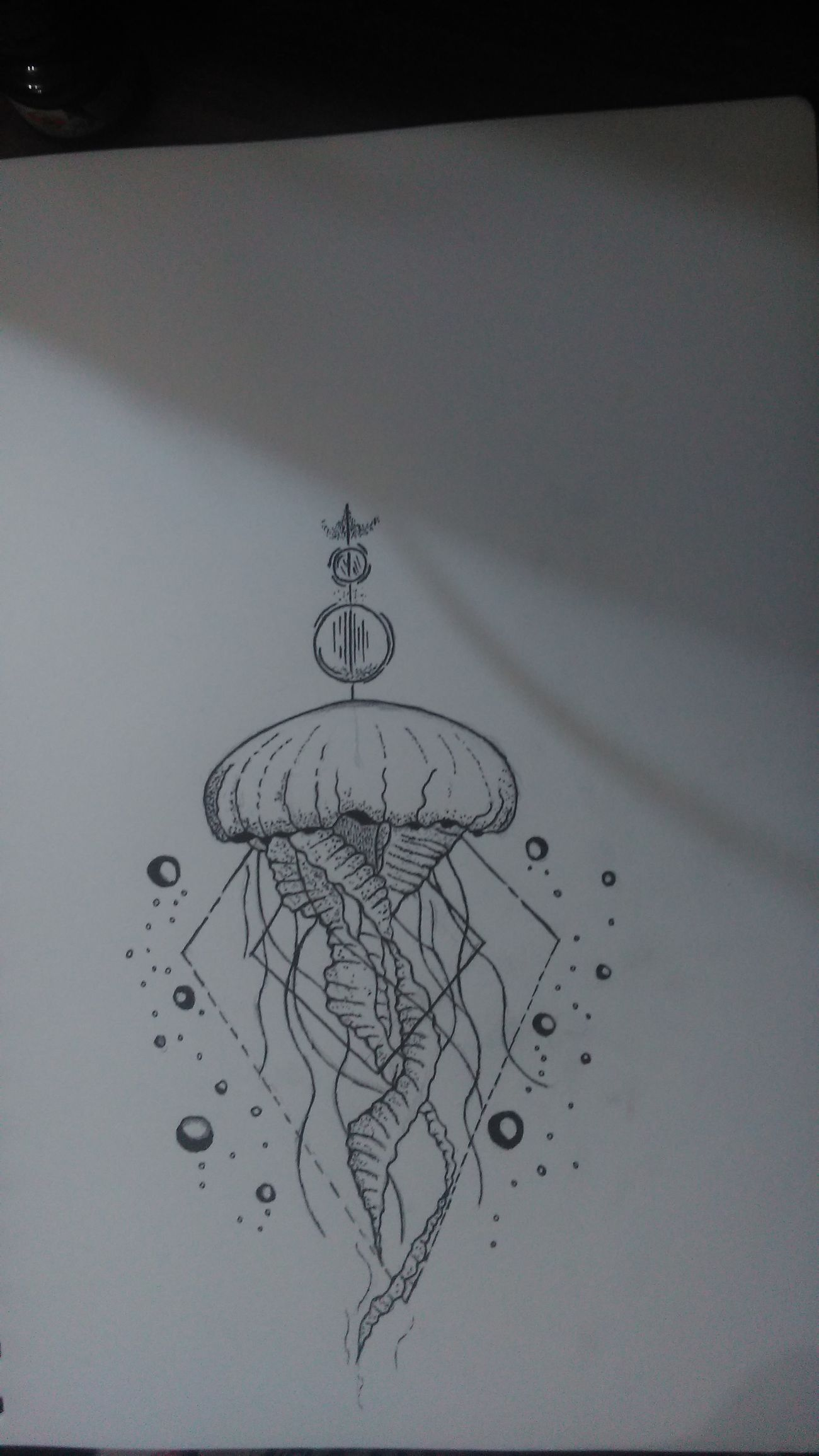 Jellyfish Paper Composition Hand Drawing ArtWork Art, Drawing, Creativity Drawing - Art Product Creativity Drawingwork Art Drawing Creativity Tattoo Sketch  Lines And Shapes