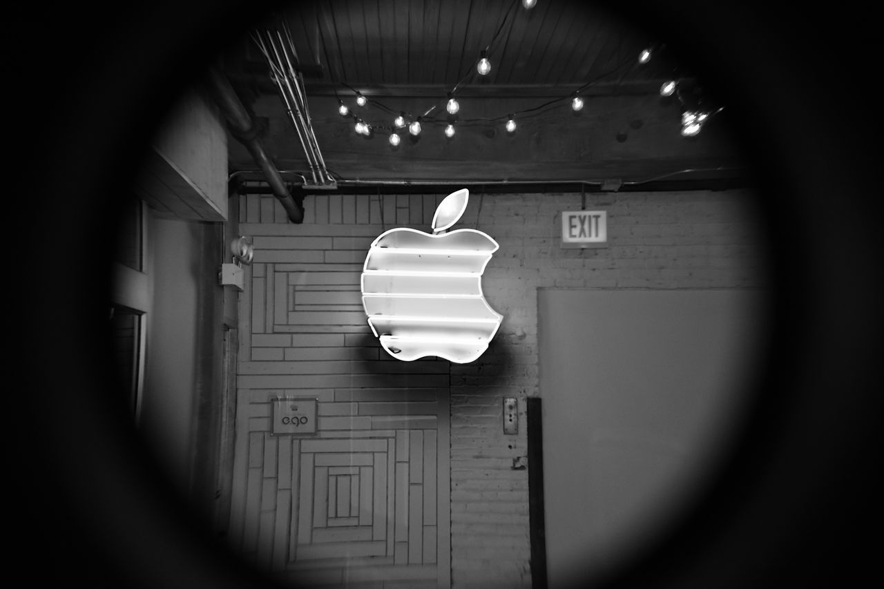 Apple Architecture Blackandwhite Day Fruit Geometric Shape Grey Hanging HDR Illuminated Indoors  Light And Shadow Low Angle View Macintosh No People Portal Technology Telephoto Urban Landscape Urban Lifestyle