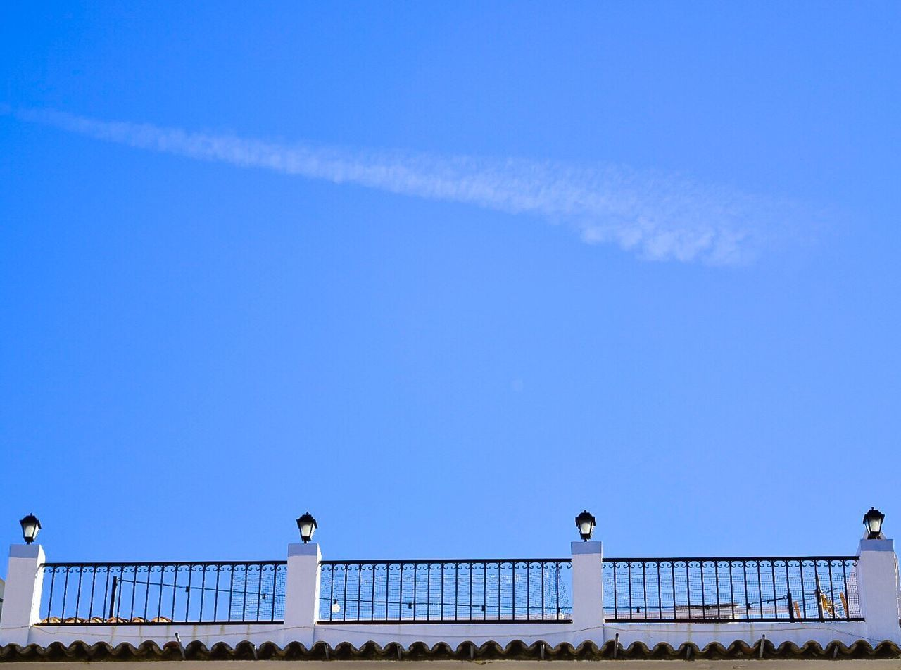 railing, blue, animal themes, copy space, outdoors, bird, day, low angle view, architecture, animals in the wild, sky, built structure, clear sky, perching, building exterior, no people, seagull, one animal, nature