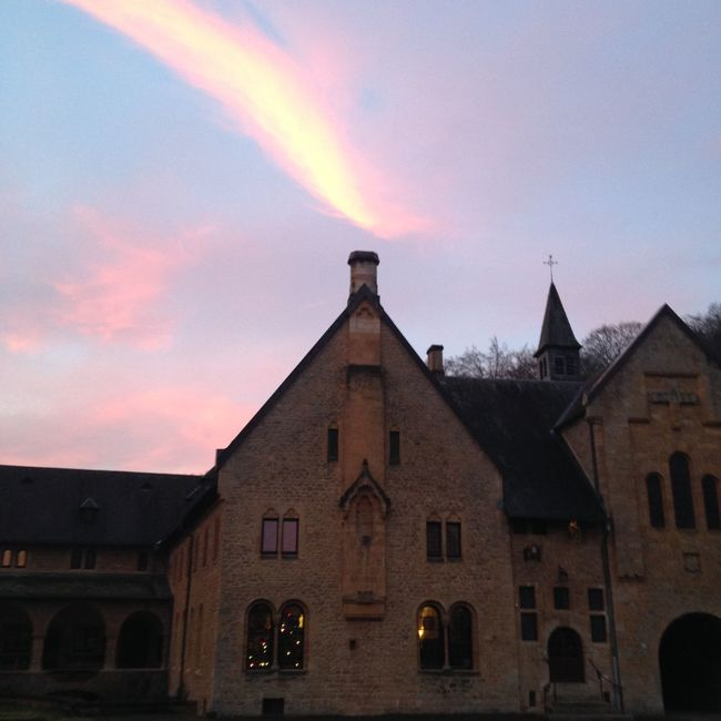 Sky lightening of morning Taking Photos peace of the place Orval Belgium Abbaye