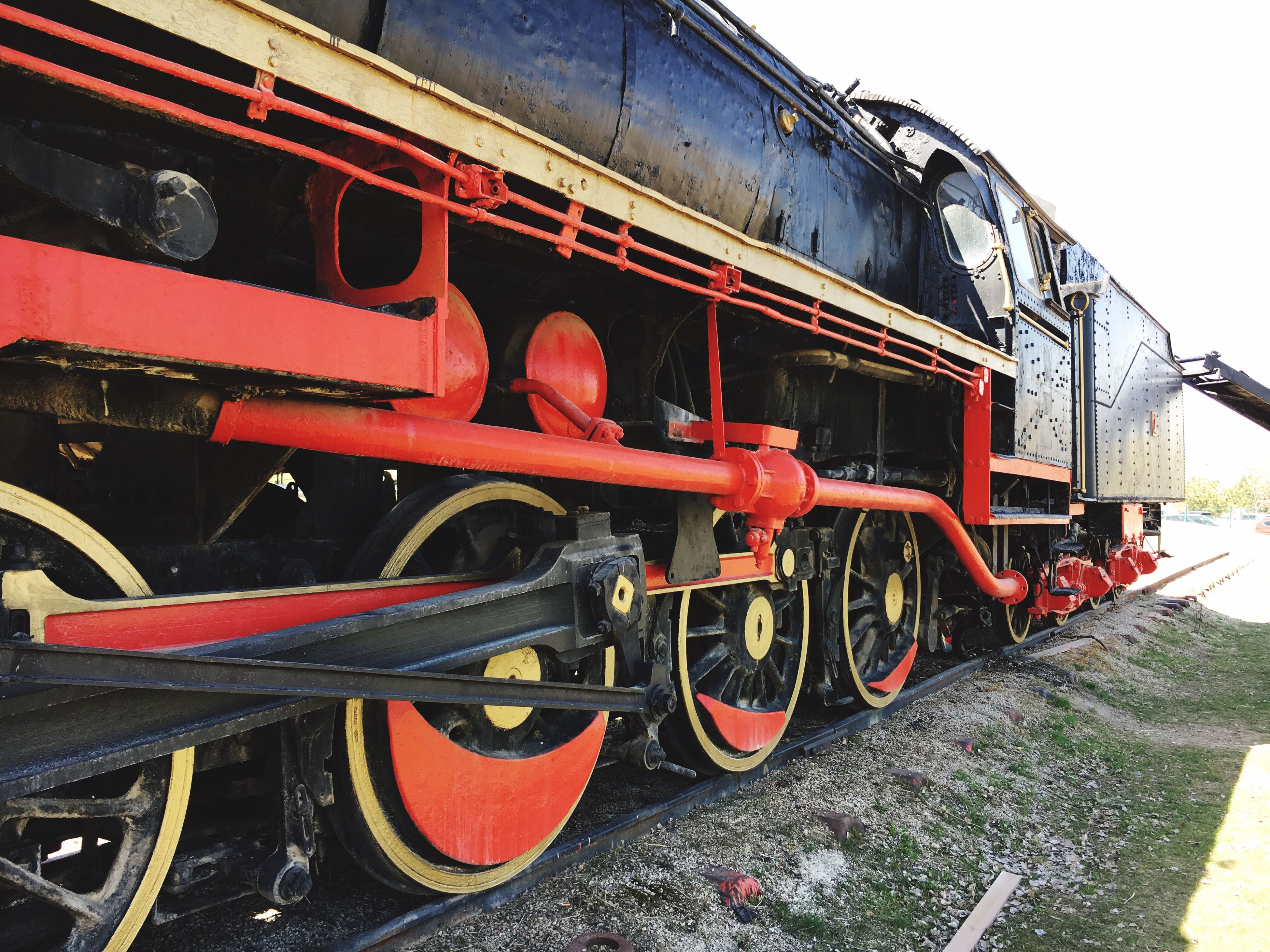 transportation, mode of transport, train - vehicle, old-fashioned, travel, rail transportation, outdoors, red, no people, locomotive, day, steam train, public transportation, close-up