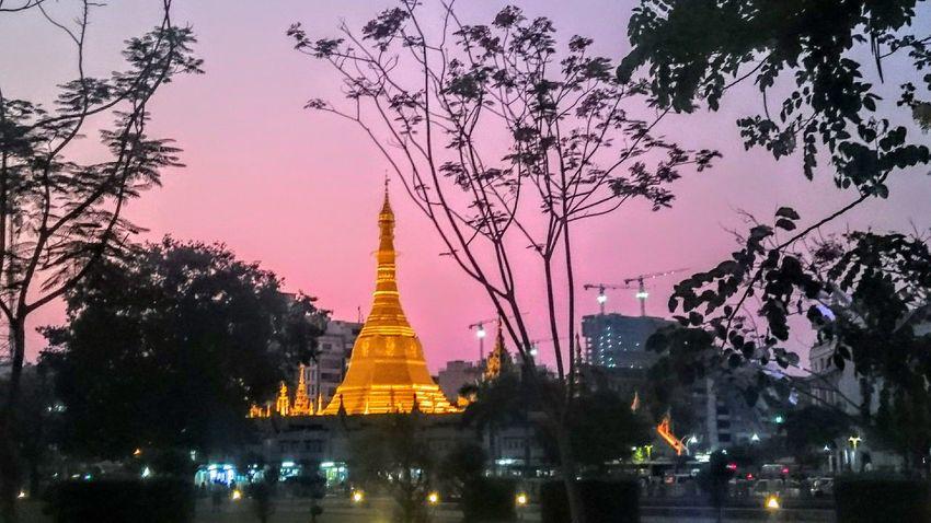 Yangon Rangoon Myanmar Burma Birma Dusk Sunset Purple Sky Shwedagon Pagoda Golden Pagoda Glittering Layering Pink Skies Tradition Meets Modern The Great Outdoors With Adobe Envision The Future Cities At Night Golden Moments