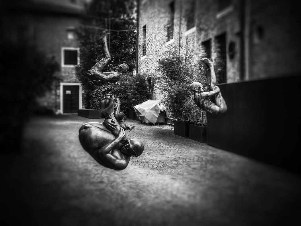 Treviso, Italy Artistic Installations Architecture Architectural Photography Architecture_collection Suspended Statues Mobile Photography Art Fineart Black And White Best Eyeem Shots Best Eyeem Edits Pinhole Photography Pinhole Effect