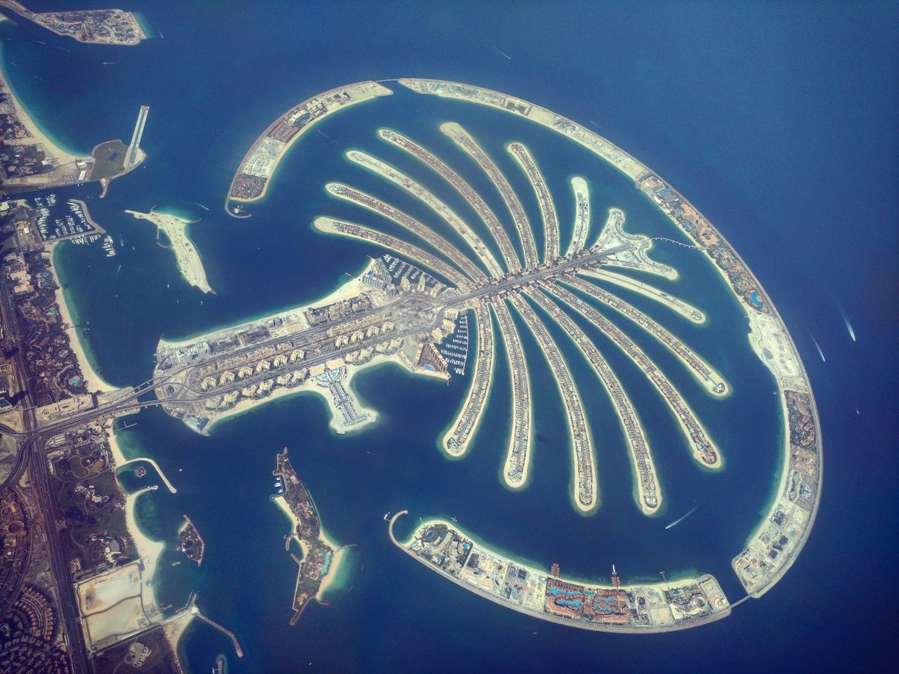 Dubai Palm Jumeirah Birds Eye View Seascape Island Manmade Beautiful Manmade Structure