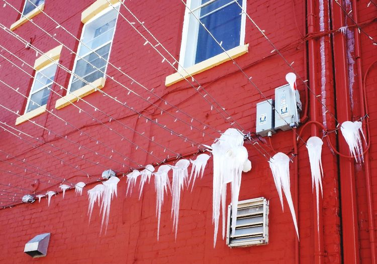 ice hitch hikers Winter Ice Built Structure Red Architecture Building Exterior Day No People Outdoors Roof