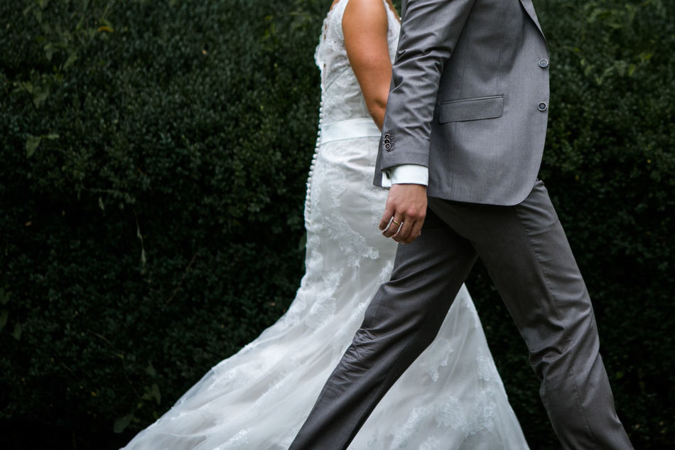 Bride And Groom Holding Hands Just Married Lifestyles Outdoors Walking Wedding Wedding Day
