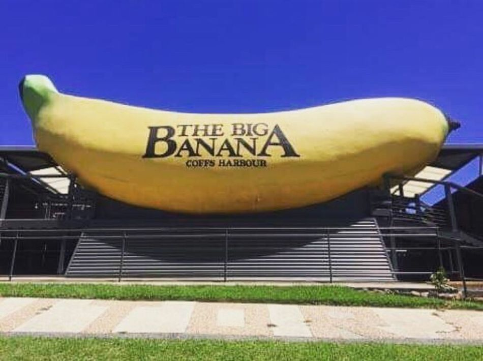 Text Communication Day Outdoors Blue No People Yellow Architecture Sky Close-up The Big Banana