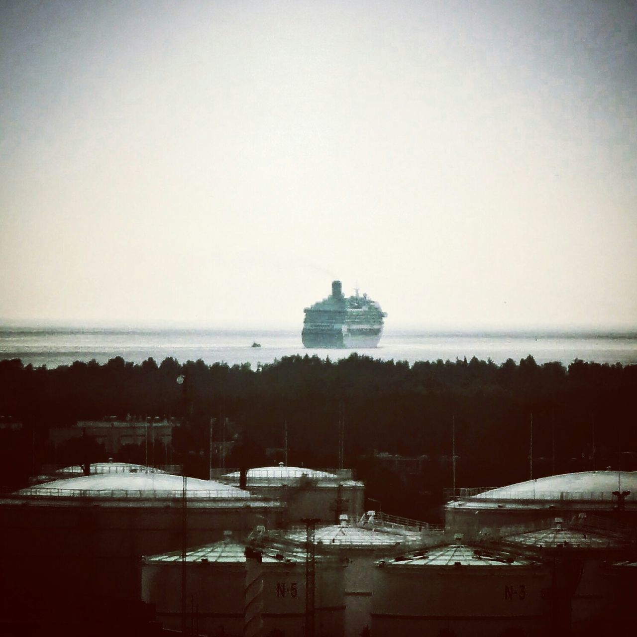 A grand Ship Tallink leaves Port of Riga in Latvia , goes down On The River of Daugava to open See.