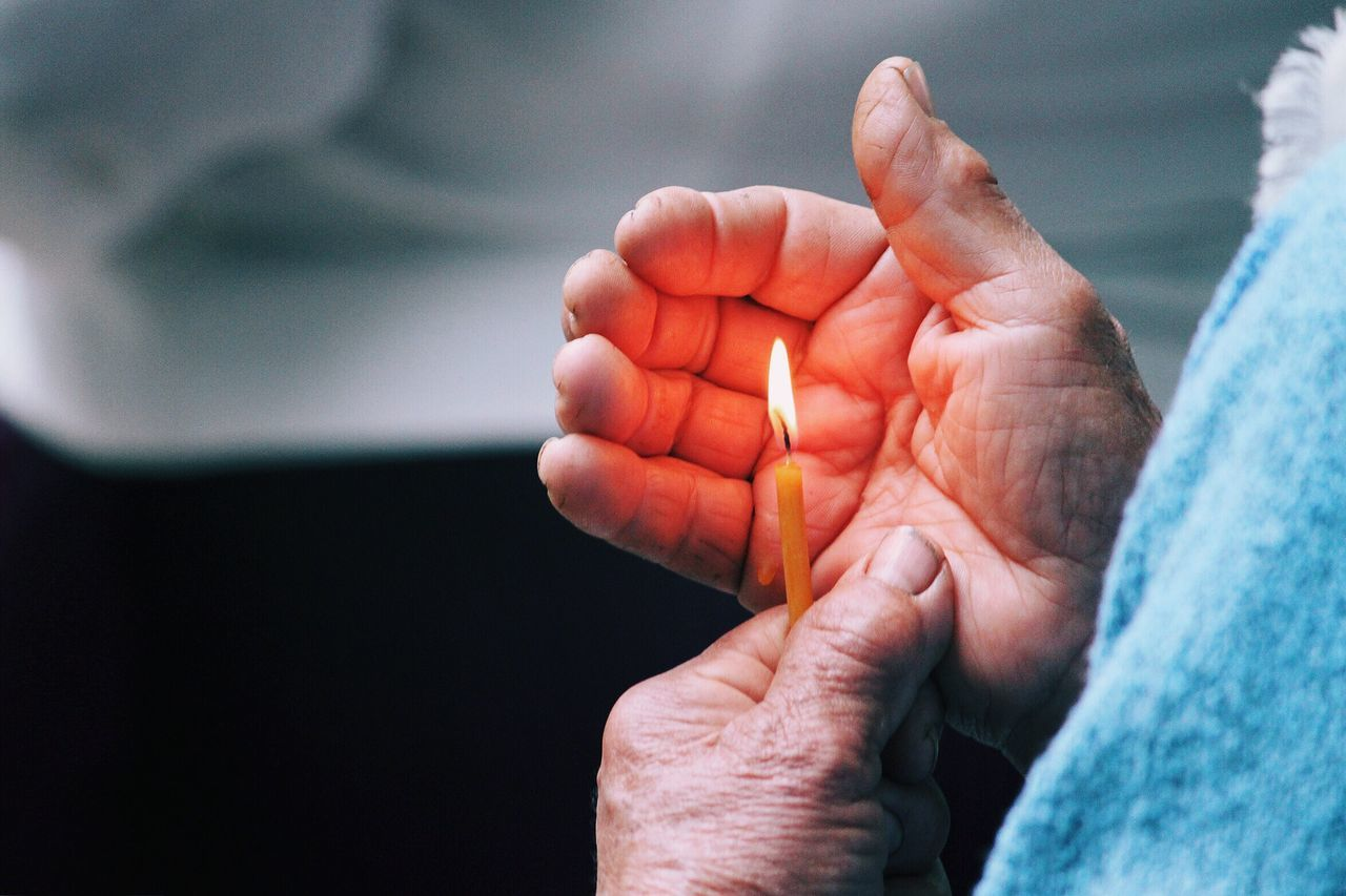 Human Hand Human Body Part Close-up One Person Real People Palm Day Outdoors People Granny Grandma Grandmother Hands Of Time Old Candle Flame Fire