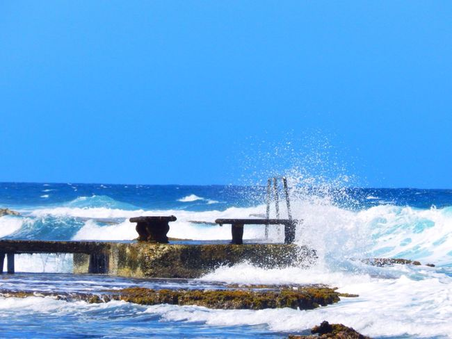 Blue Wave Relaxing Tropical Sea And Sky Seaside Beach Jamaica Seascape Splash Paradise Islandlife EyeEm Best Shots EyeEm Nature Lover My Favorite Photo Tranquility Summer Life Is A Beach Traveling Travel Photography Sea View