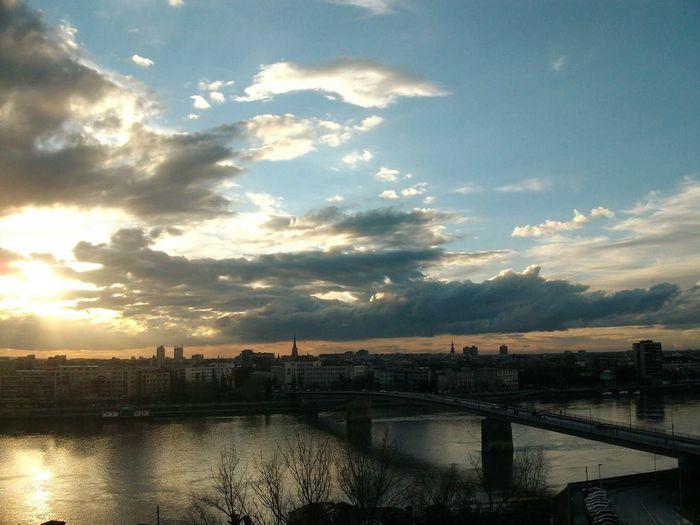 Bridge - Man Made Structure Water River Sky City Sunset Outdoors No People Cityscape Day Novi Sad