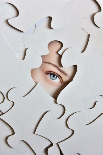 Jigsaw Puzzle Puzzle  High Angle View Solution Indoors  Close-up Human Eye Human Body Part One Person Young Adult Day People Place Of Heart EyeEmNewHere The Portraitist - 2017 EyeEm Awards EyeEm Selects The Week On EyeEm EyeEmNewHere Rethink Things