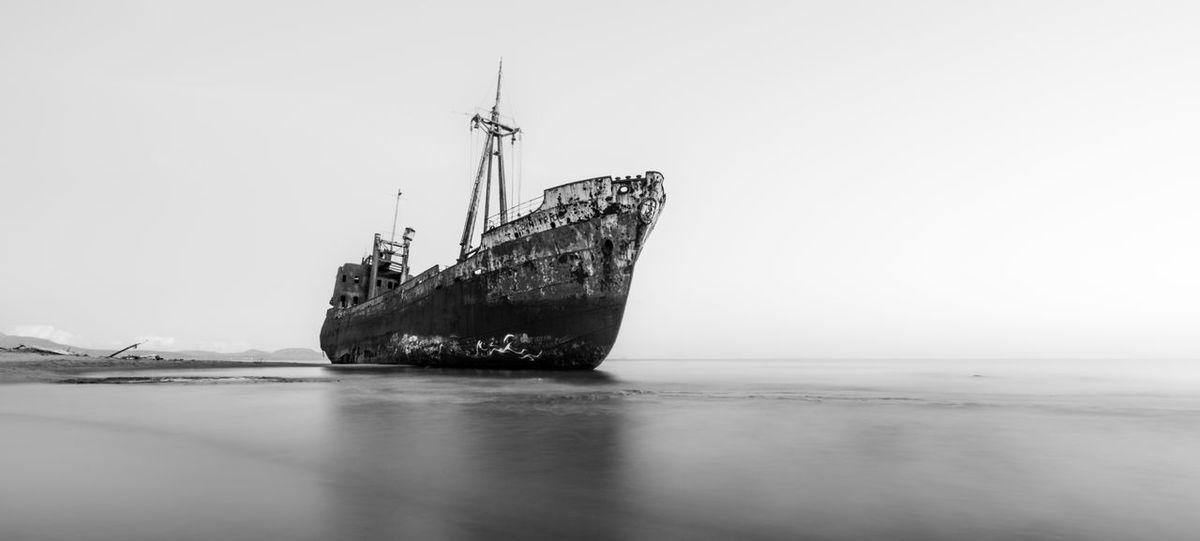 The Dimitrios Shipwreck at Valtaki beach, Greece. Nautical Vessel Shipwreck Beach Black & White Blackandwhite Photography Beach Sea Side Ship Moody Monochrome Dimitrios Valtaki Gytheio