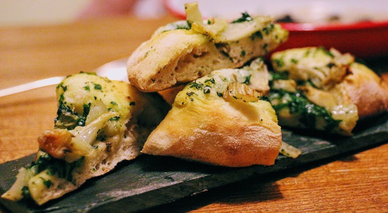 Appetizer Close-up Day Focus On Foreground Food Food And Drink Food Photography Food Porn Freshness Garlic And Herb Garlic Bread Garlic Focaccia Healthy Eating Indoors  Macro No People Plate Ready-to-eat Seafood Serving Size Slate, Austin, Tx, Bull Creek Starter Dish
