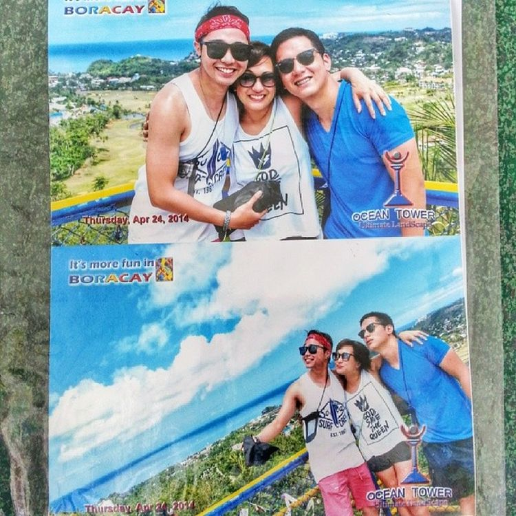 Got our pic at the Ocean Tower. We're just happy. ?? Sibs Boracay Summer2014 ☀??? @cerylanne @juhir_i