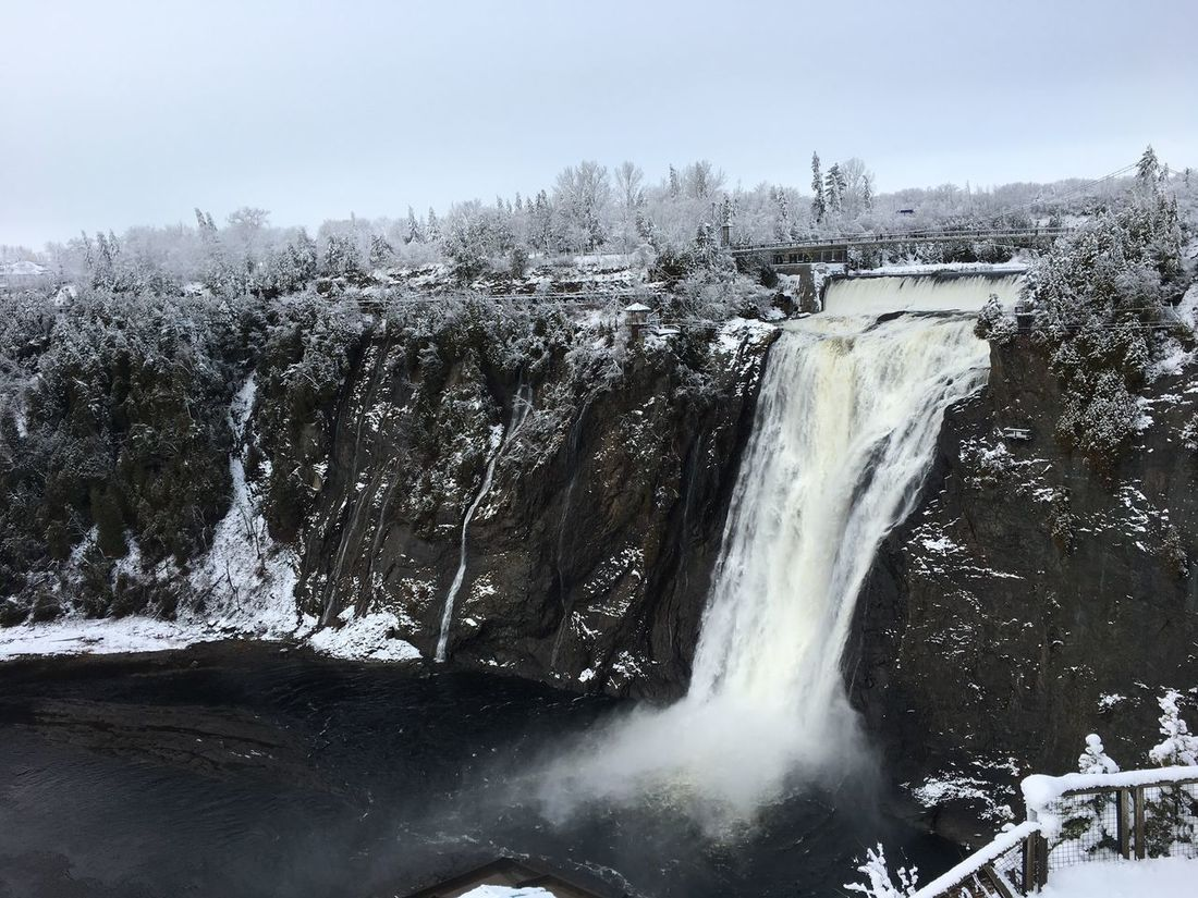 Montmorency Falls Waterfall Nature Water Flowing Water Motion No People Outdoors Cold Temperature Winter Quebec Montmorencyfalls