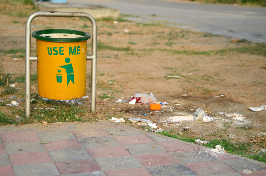 Rubbish bin that is overflowing City Community Lifestyle Rubbish Bad Bin Can Carefree Clean Dirt Dirty Discard Disease Garbage Neat Over Pollution Recycle Smell Stink Throw Waste Yellow
