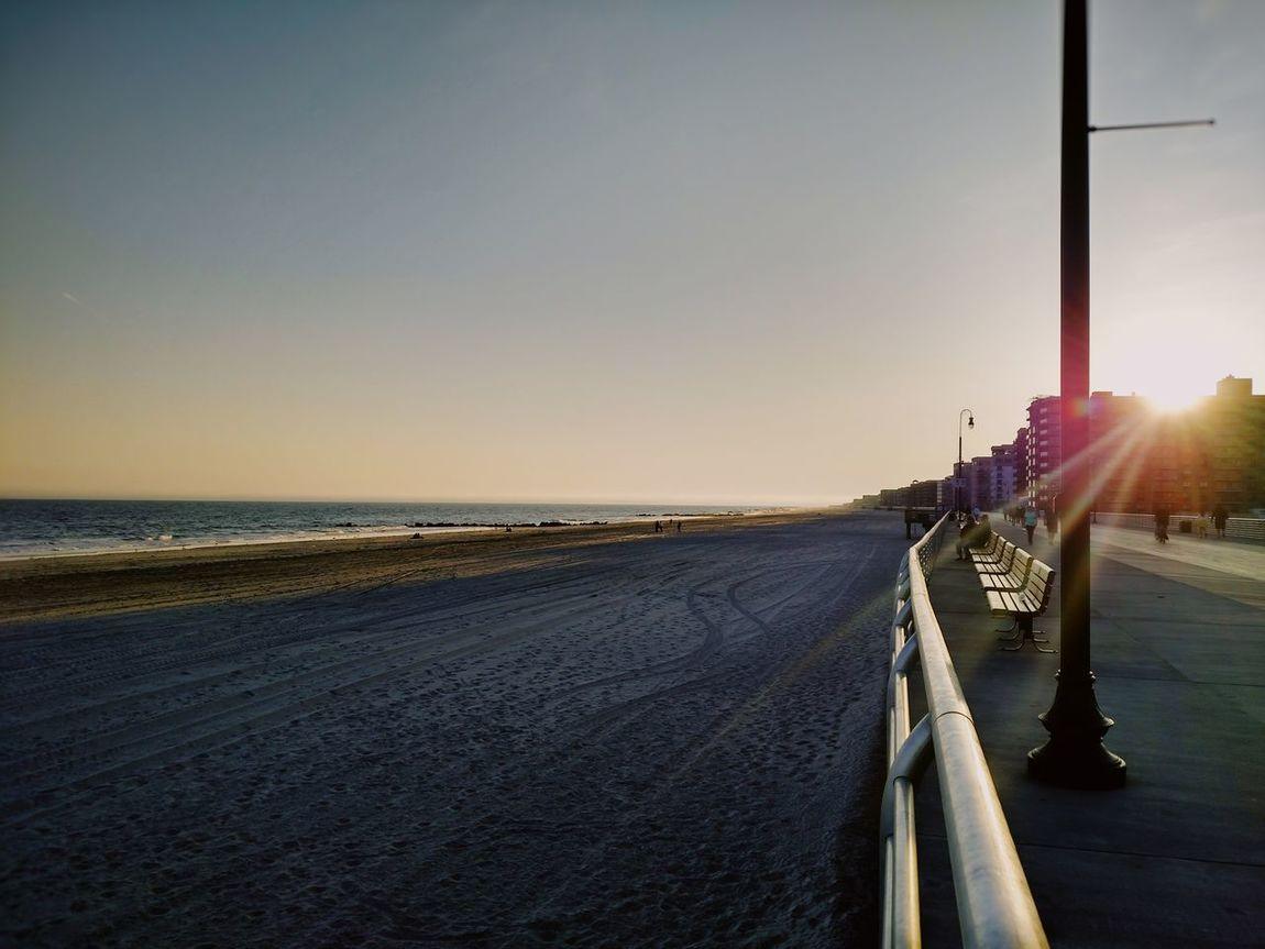 Long Beach NY New York Long Island Sunset Sky Sunlight Beach Sea Outdoors No People Clear Sky Tranquility Travel Destinations Day Horizon Over Water Vacations Scenics Nature Beauty In Nature Sunset_collection Sunset Silhouettes Dusk Summer Sun Sunlight