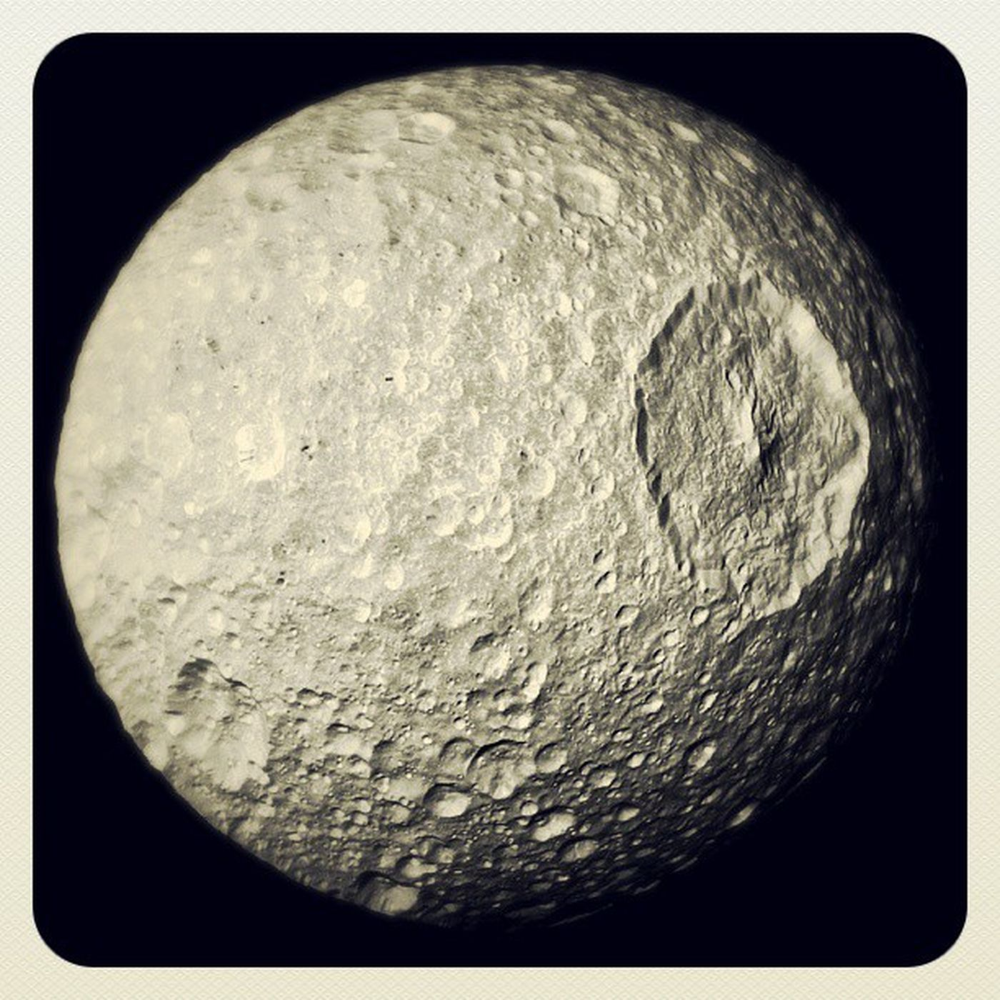 Beautiful picture of MIMAS come and be Cosmicallyconscious