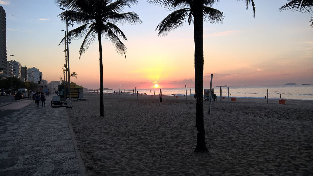 Ipanema Beach Rio De Janeiro Sunrise Early Morning Sun