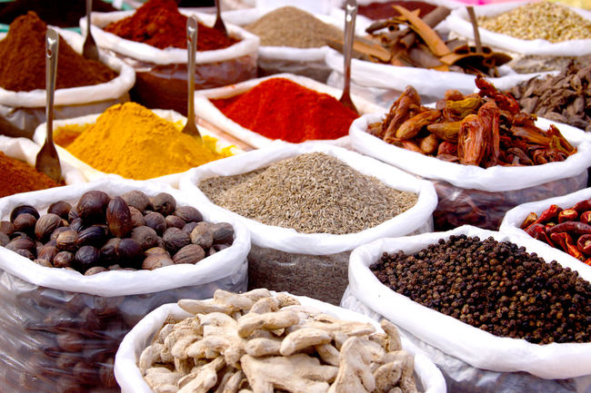 Assortment Choice Collection Colourful Consumerism Display Food For Sale Freshness Health Herb Homemade In A Row Indian Spices Market Market Stall Organic Retail  Sale Selling Small Business Spice Taste Usefull Variation